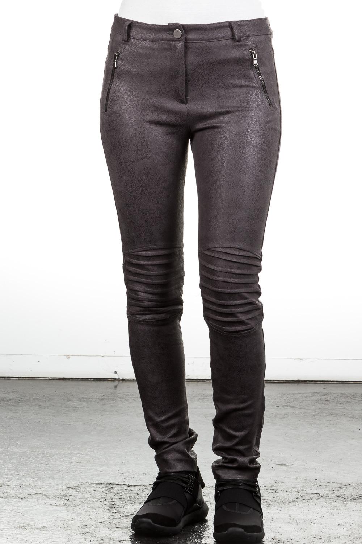 Hosen für Frauen - Janice Jo Strechhose Biker Look grau  - Onlineshop Luxury Loft