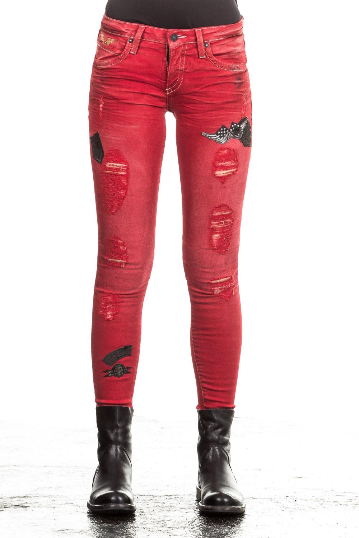Hosen - Robin's Jean Damen Jeans SKINNY PATCHES rot  - Onlineshop Luxury Loft