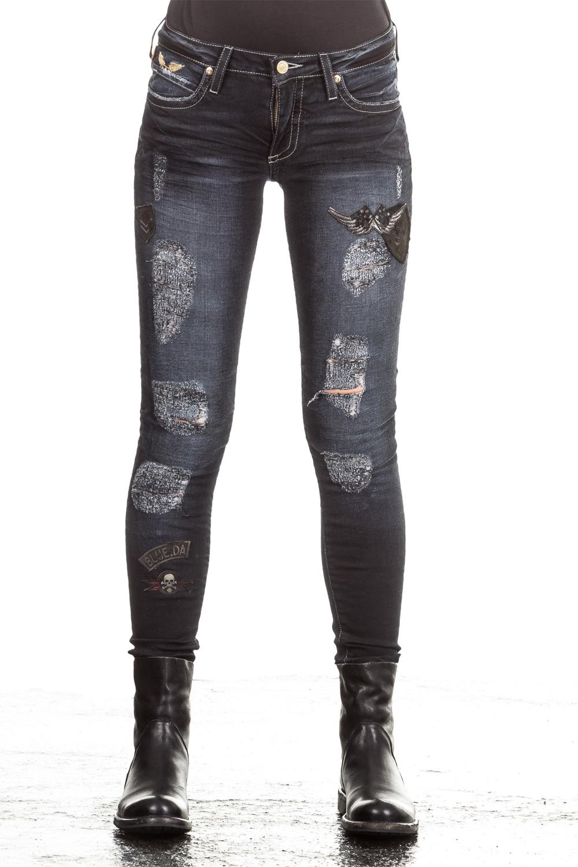 Hosen - Robin's Jean Damen Jeans SKINNY PATCHES dunkelblau  - Onlineshop Luxury Loft