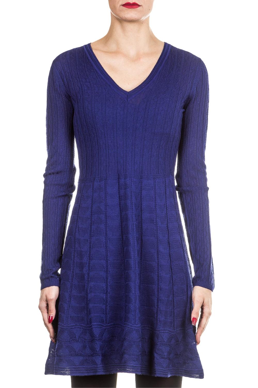 Kleider für Frauen - M Missoni Damen Strick Kleid blau  - Onlineshop Luxury Loft