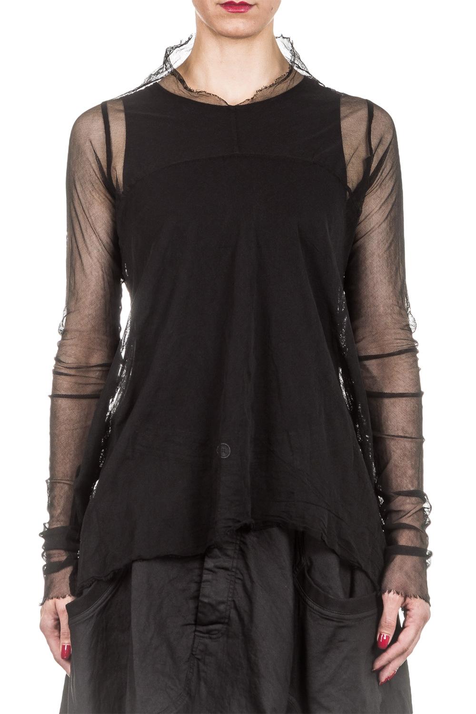 Rundholz Dip Damen Tüllshirt A-Form schwarz