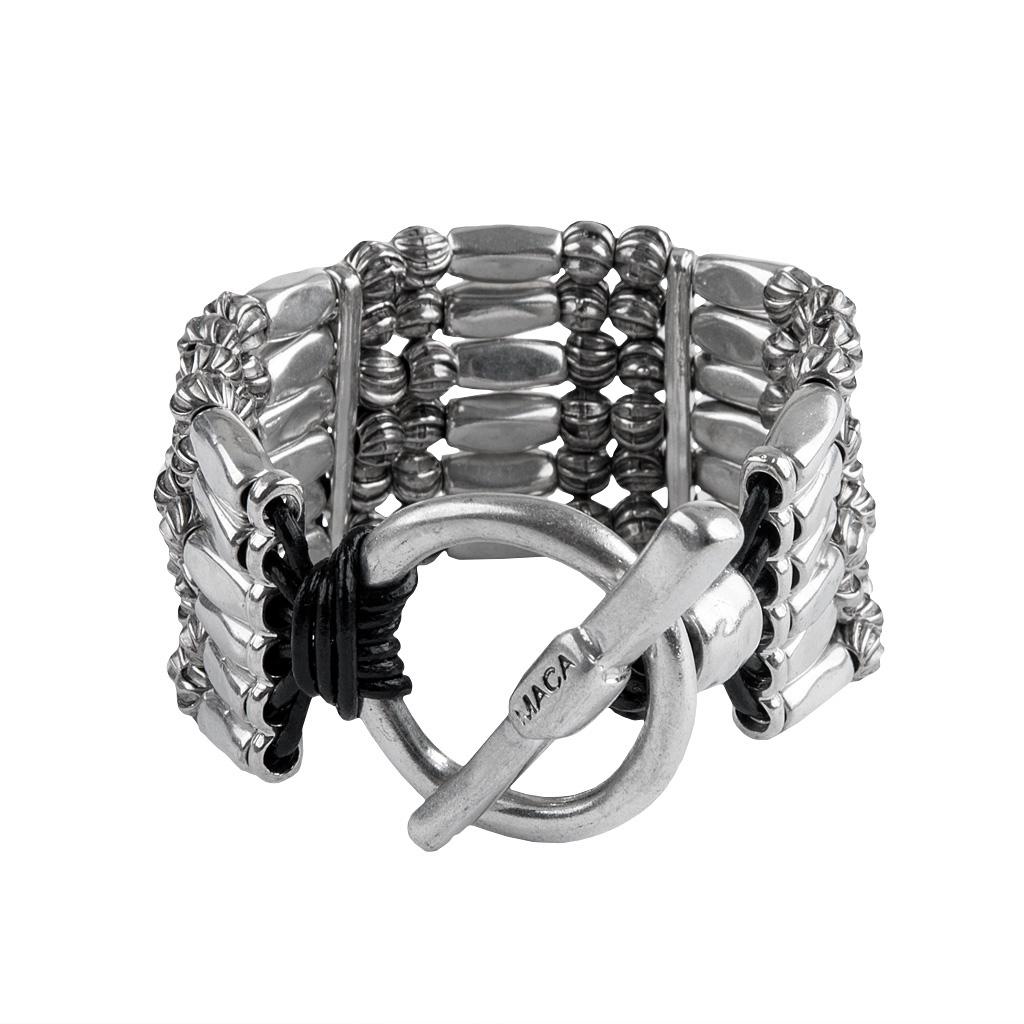 MACA Kitzbühel Armband A058 silber und schwarz