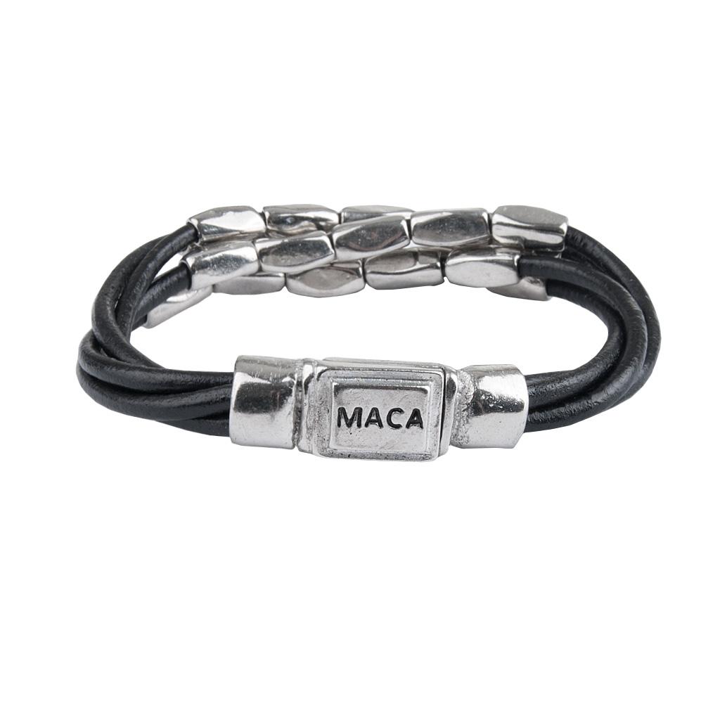 MACA Kitzbühel Armband A060 silber und schwarz