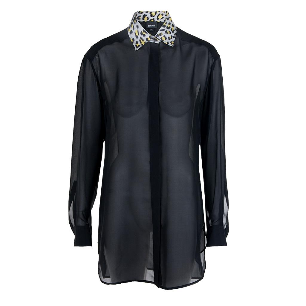 Oberteile - Just Cavalli Seidenbluse schwarz  - Onlineshop Luxury Loft