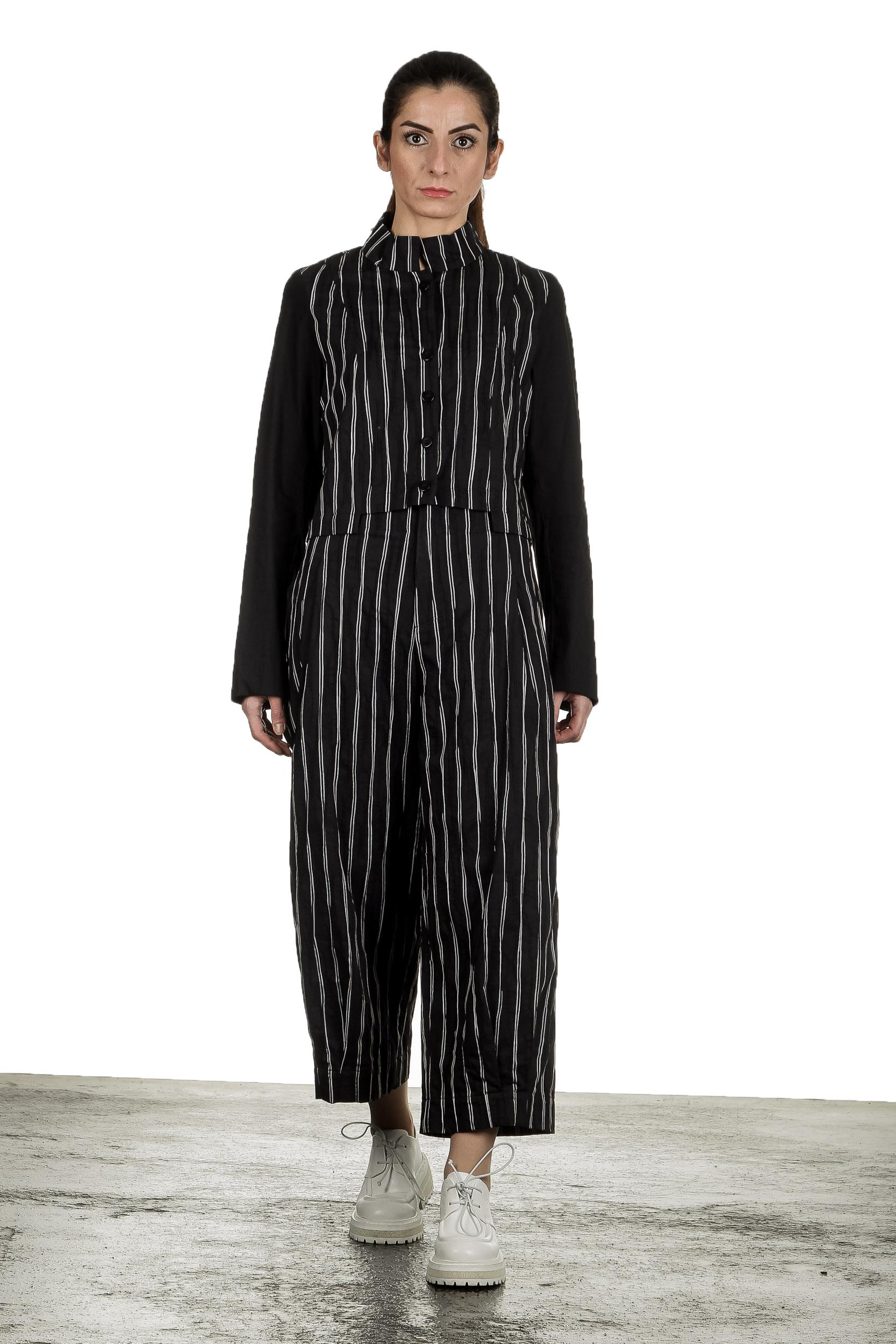 Hosen - Yukai Damen Culotte Hose mit Streifen schwarz  - Onlineshop Luxury Loft