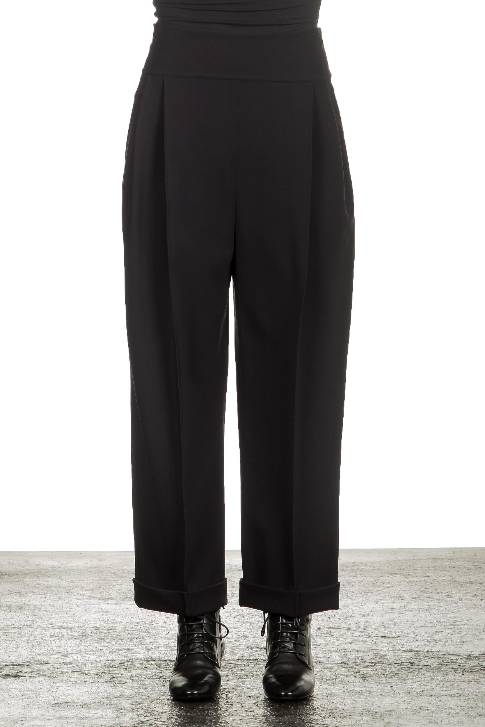 Hosen - Schella Kann 2 Damen 7 8 Hose mit Bundfalten schwarz  - Onlineshop Luxury Loft