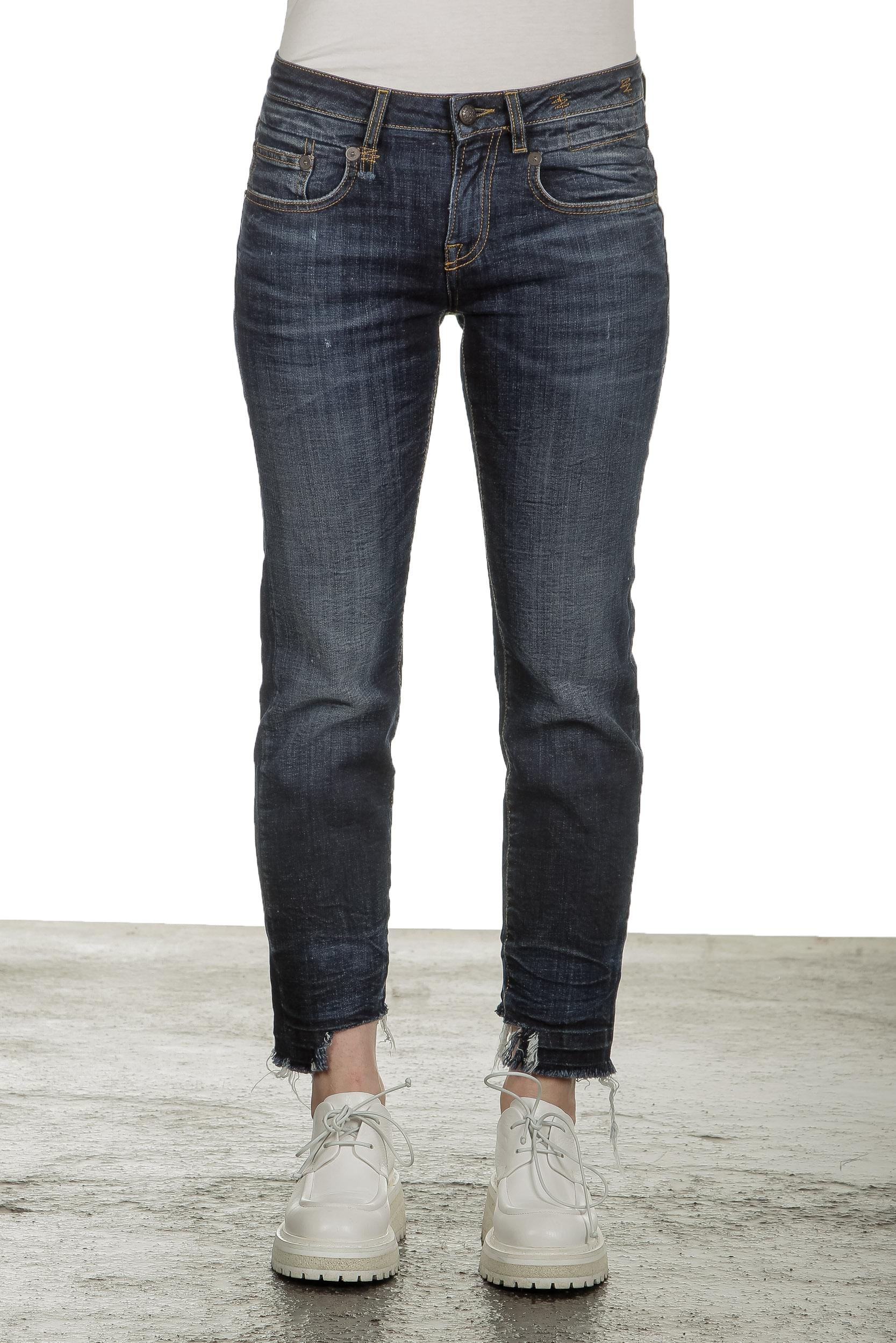 Hosen - R13 Damen Jeans im Distressed Look indigo  - Onlineshop Luxury Loft