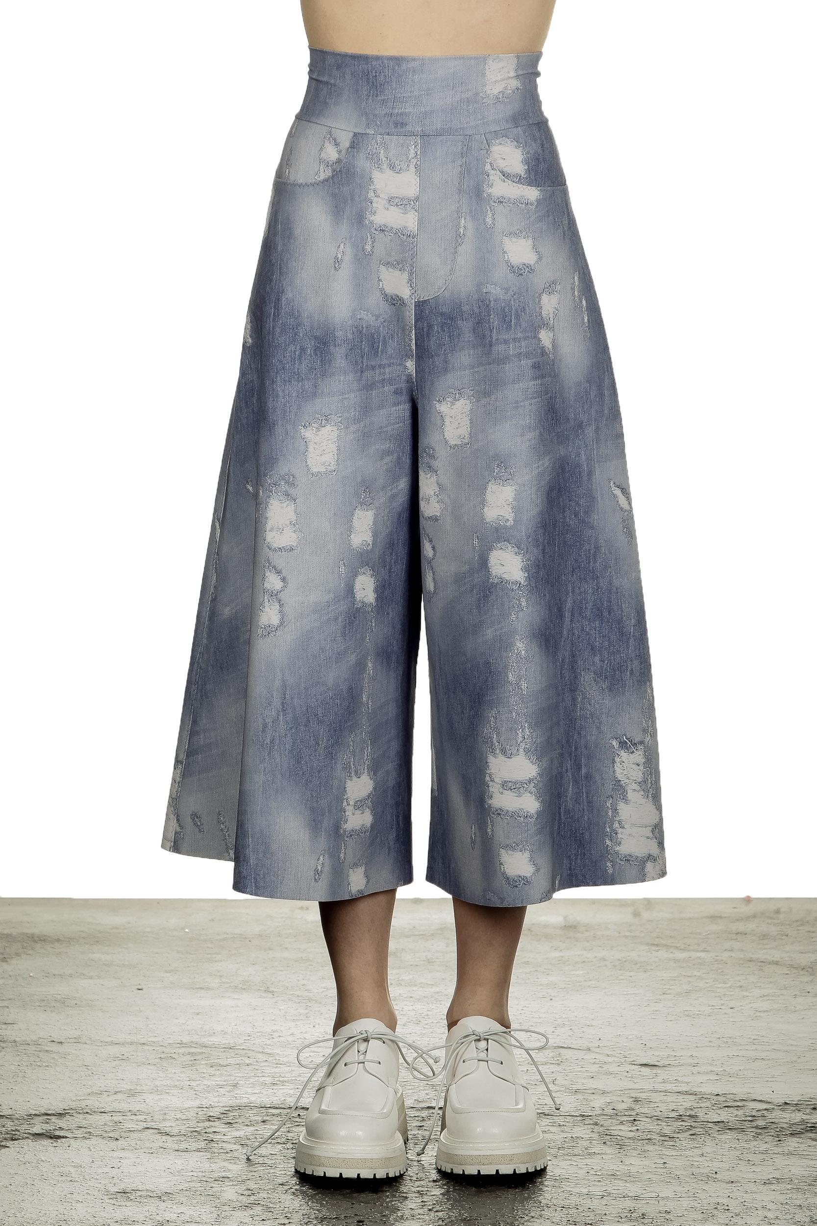 Hosen - Schella Kann 2 Damen Culotte Hose in Jeans Print mehrfarbig  - Onlineshop Luxury Loft