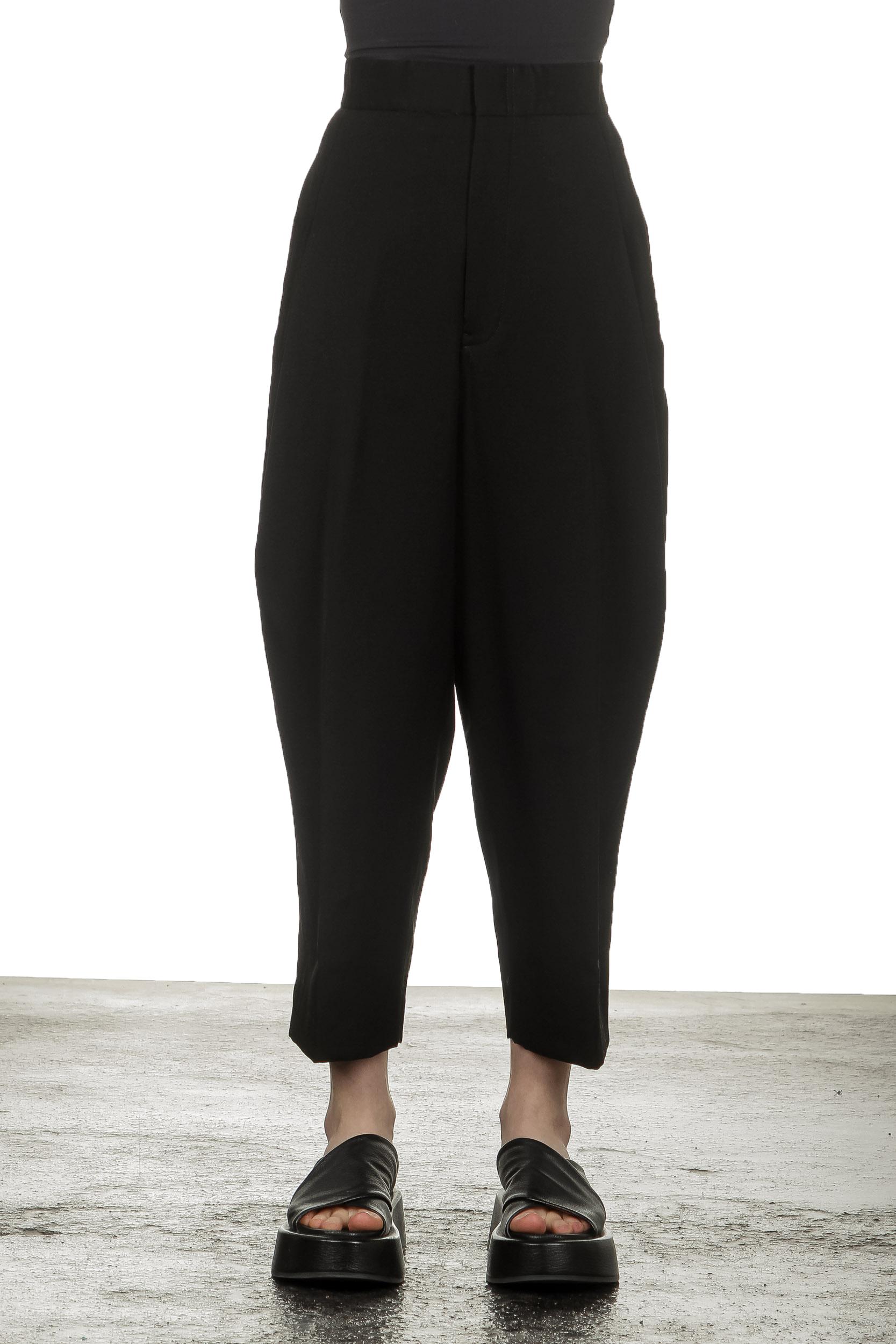 Hosen - Y's Yohji Yamamoto Damen 7 8 Hose mit elastischem Bund schwarz  - Onlineshop Luxury Loft