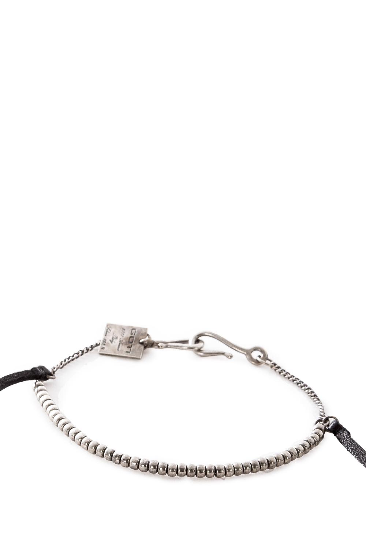 Armbaender für Frauen - GOTI Silber Armband BR1116 mit Leder schwarz silber  - Onlineshop Luxury Loft