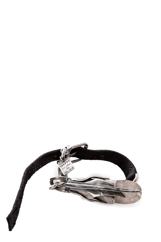 Armbaender für Frauen - GOTI Lederarmband mit Silberknospe BR1140 silber schwarz  - Onlineshop Luxury Loft