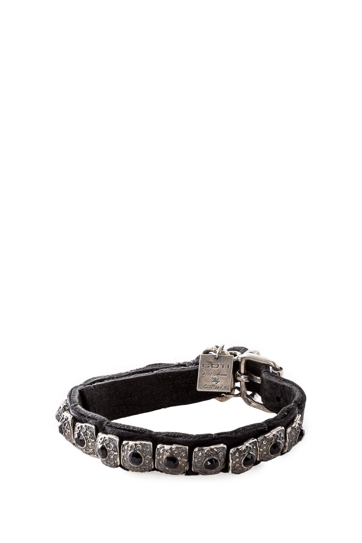 Armbaender für Frauen - GOTI Lederarmband mit Silberbesatz BR735 schwarz silber  - Onlineshop Luxury Loft