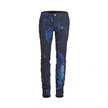 ISSEY MIYAKE Jeans Crashed Look mit Print blau