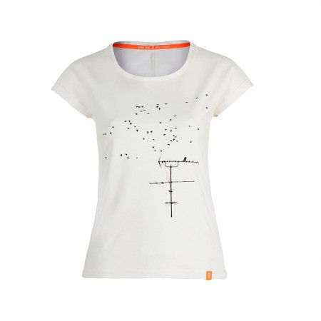 STORK & FOX Damen T-Shirt FLIGHTMODE off weiß