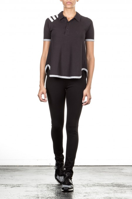 Y-3 Damen Polo Shirt PIQUET schwarz