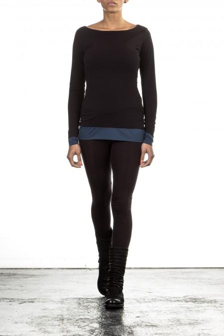 Y-3 Damen Langarm Wendeshirt schwarz blau