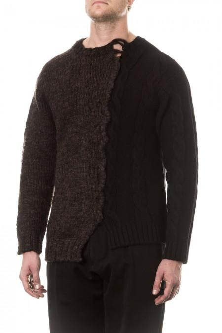 Yohji Yamamoto Herren Pullover Avantgarde braun schwarz