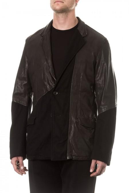 Yohji Yamamoto Herren Blazer mit Leder Avantgarde schwarz