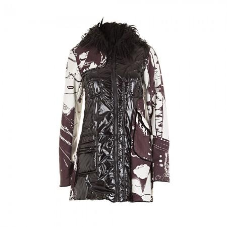 Custo Barcelona Damen Mantel mit Kapuze schwarz weiß Gr. 36