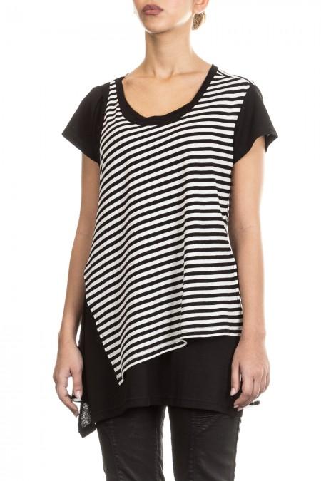 Y´s Yohji Yamamoto Damen Avantgarde Shirt Layer Look schwarz weiß Gr. 2