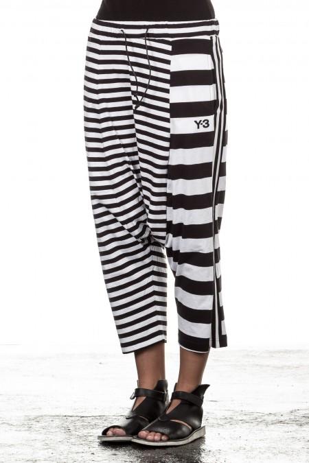 Y-3 Damen Sarouelhose gestreift schwarz weiss