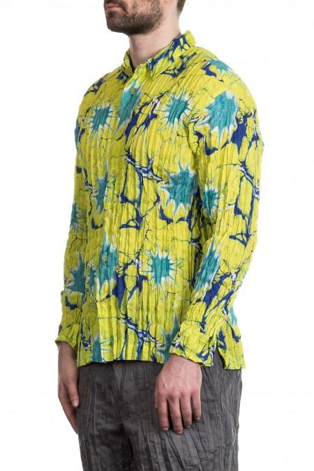 ISSEY MIYAKE Herren Hemd Crashed Look gelb