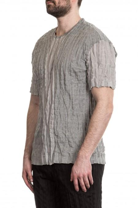 ISSEY MIYAKE Herren T-Shirt Crashed Look grau