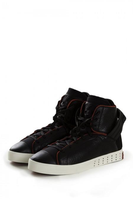 Y-3 Leder Sneakers LAVER HIGH LL black