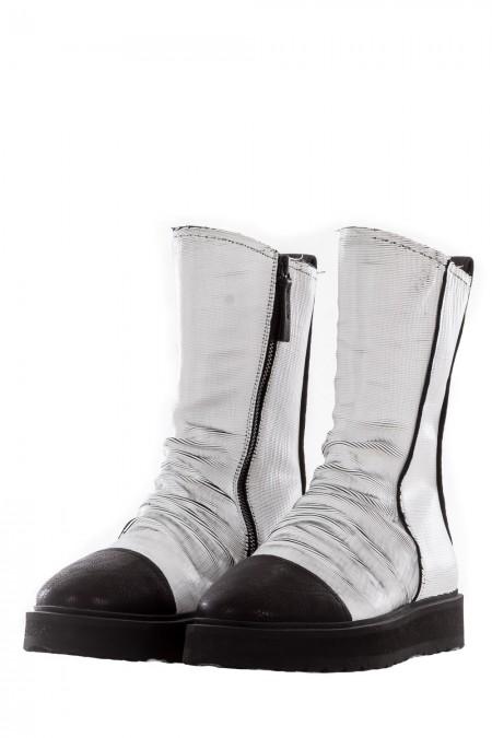 PURO Damen Leder Boots URBANLEGEND weiß schwarz