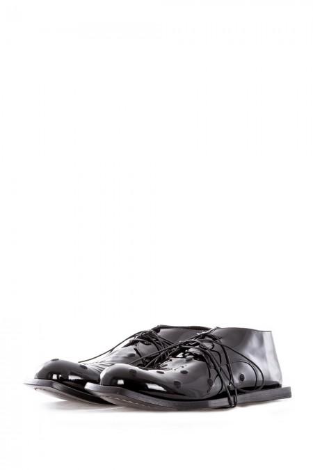 Rundholz Damen Lacklederschuhe schwarz