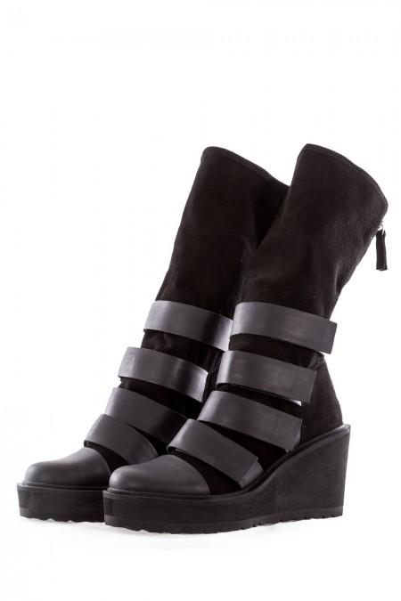 PURO Damen Leder Boots CROSSOVER schwarz