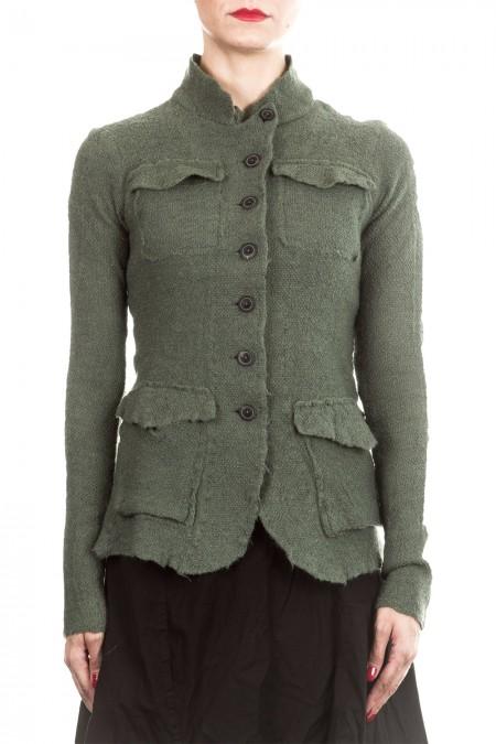 Rundholz Dip Damen Strick Jacke grün