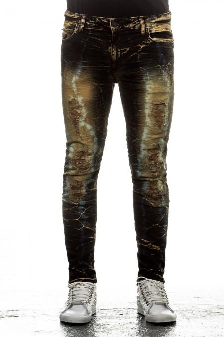 Robin`s Jean Herren Jeans PERU Slim Fit schwarz ocker