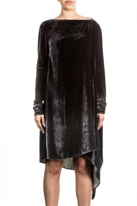 Masnada Damen Samtkleid oversized schwarz