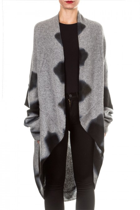 Suzusan Damen Kaschmir Cape UP SIDE DOWN grau schwarz