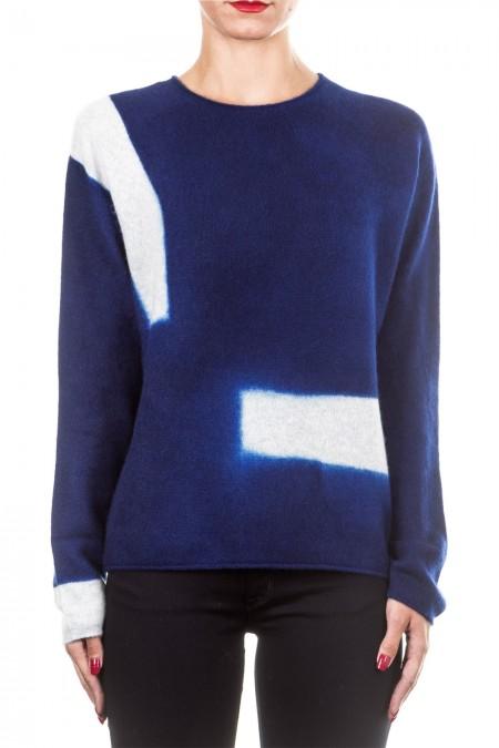 Suzusan Unisex Kaschmir Pullover BLOCK LINE hellgrau blau