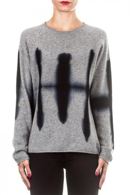 Suzusan Unisex Kaschmir Pullover VIVRATION grau schwarz