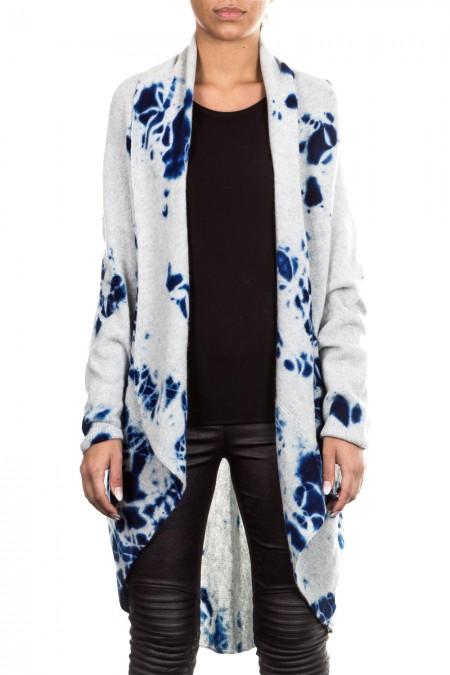 Suzusan Damen Kaschmir Cape grau blau