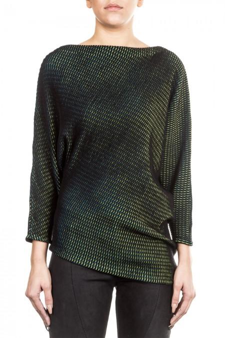 Issey Miyake Damen Pullover Plisseestrick schwarz grün
