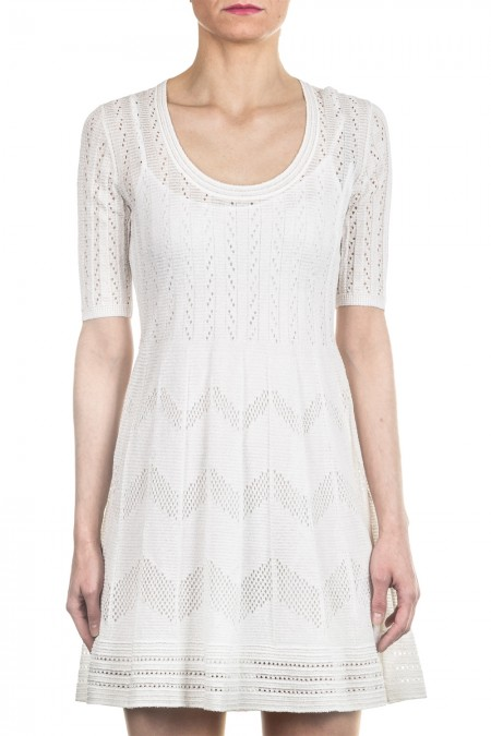 M Missoni Damen Strick Kleid creme