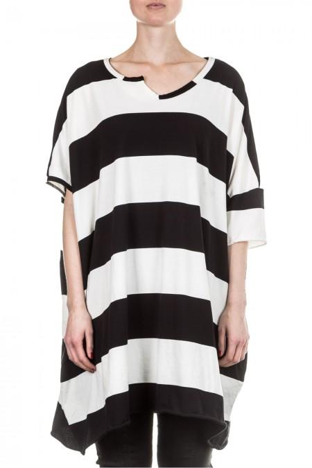 Rundholz Damen Kleid oversized gestreift