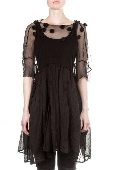 Rundholz Dip Damen Tüllkleid A-Form schwarz