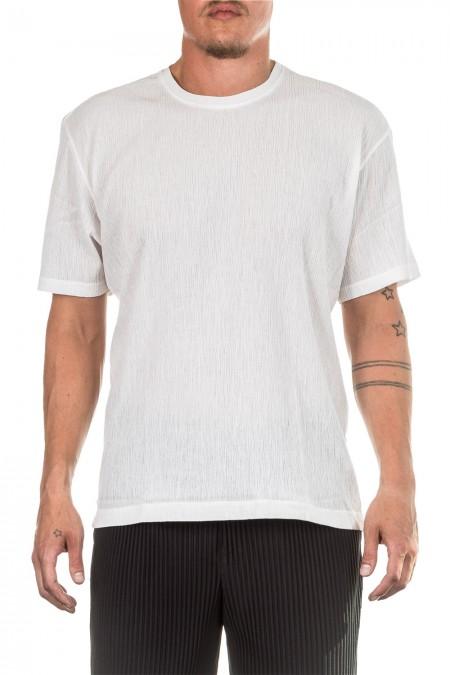 ISSEY MIYAKE Herren T-Shirt Crashed Look  weiß