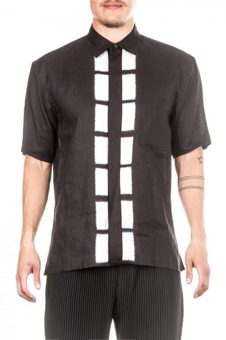 ISSEY MIYAKE Herren Leinen Hemd SHIBORI SHIRT schwarz