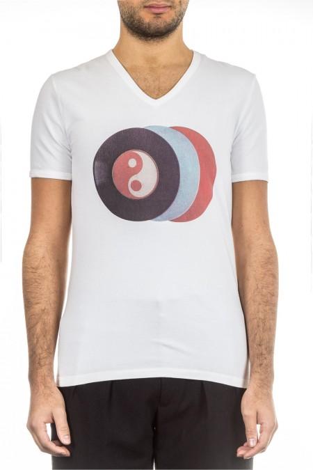 RAF by Raf Simons Herren T-Shirt V-Neck weiß