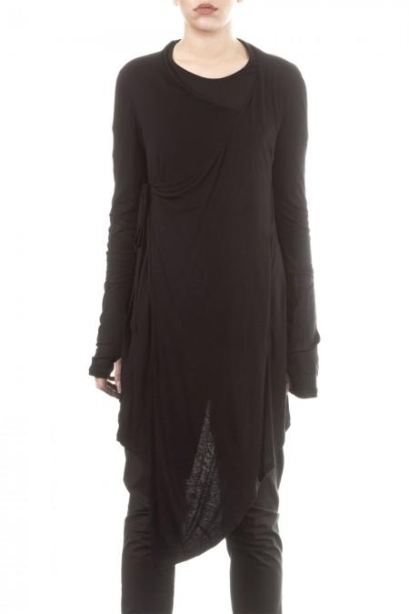 Umasan Damen Wickelkleid schwarz