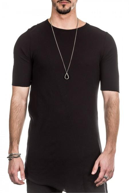 Masnada Herren T-Shirt asymmetrisch schwarz