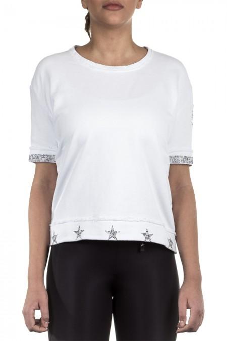 Jet Set Damen 1/2 Arm Sweatshirt KEIKO weiß