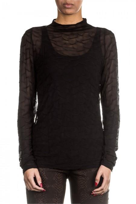 Sarah Pacini Damen Langarm Tüllshirt schwarz