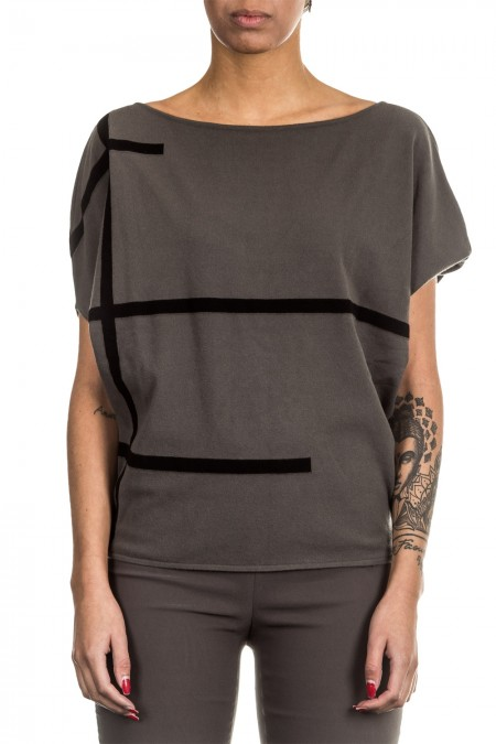 Sarah Pacini Oversized Pullover khaki schwarz